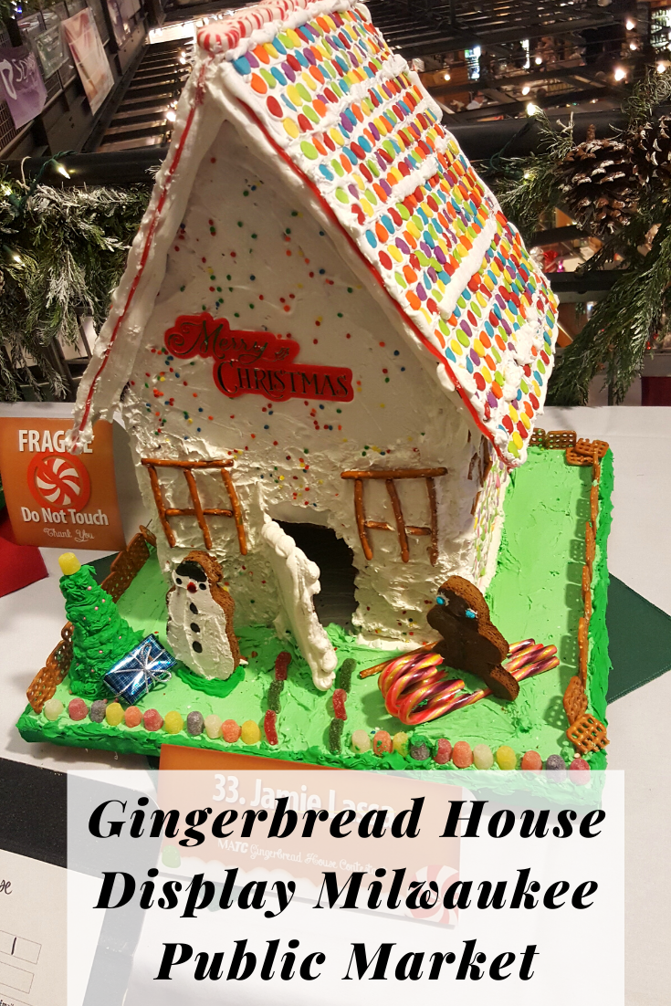cute gingerbread house displayed in Milwaukee public market