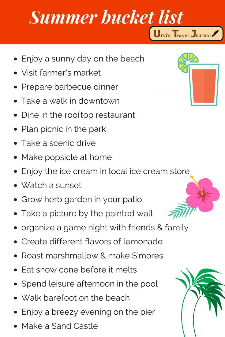 Summer Bucket list from Urvi's Travel Journal