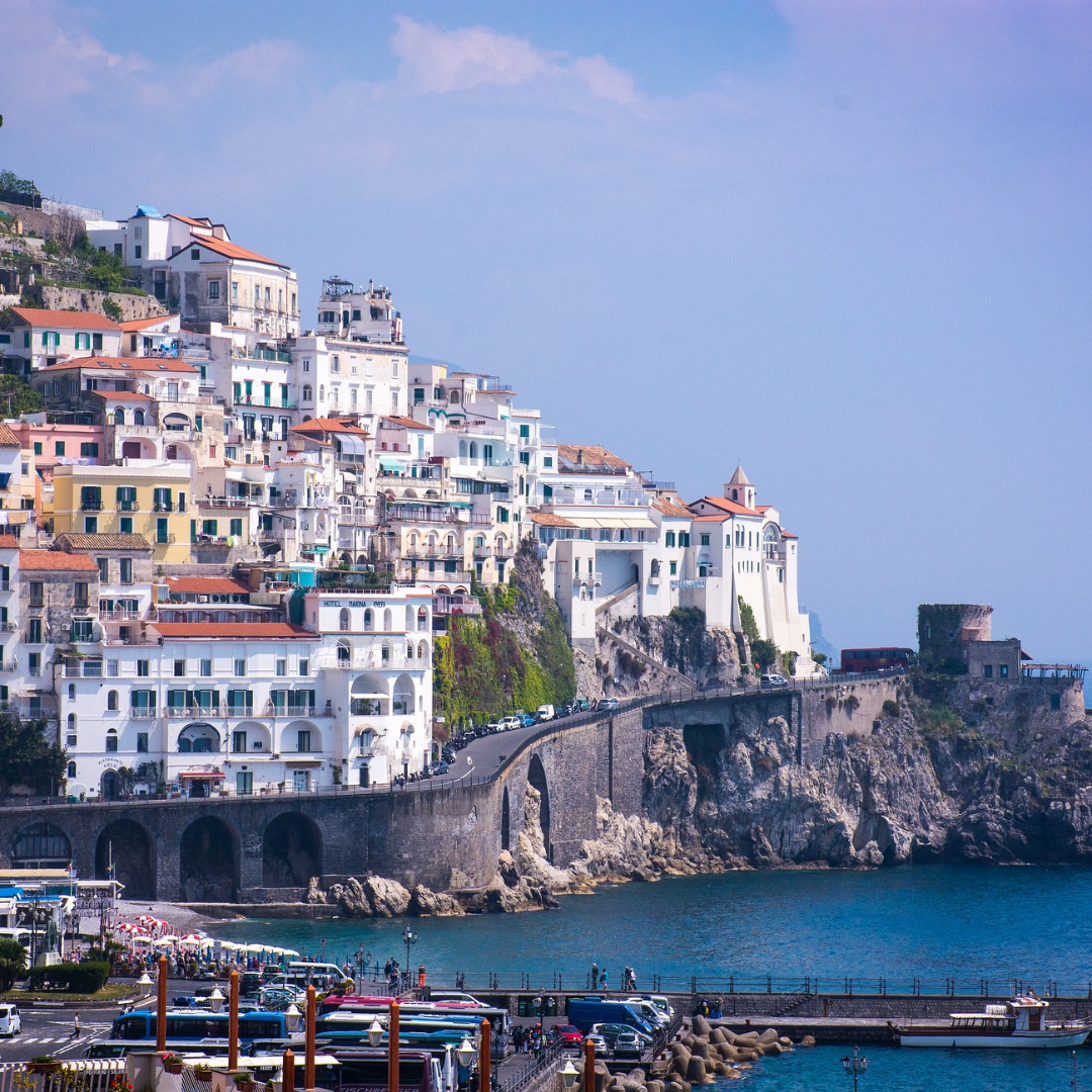 Scenic drive of Amalfi coast in Italy