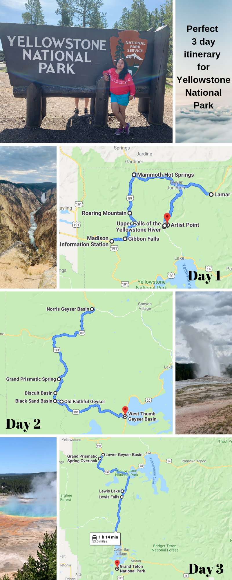 3 day itinerary for Yellowstone