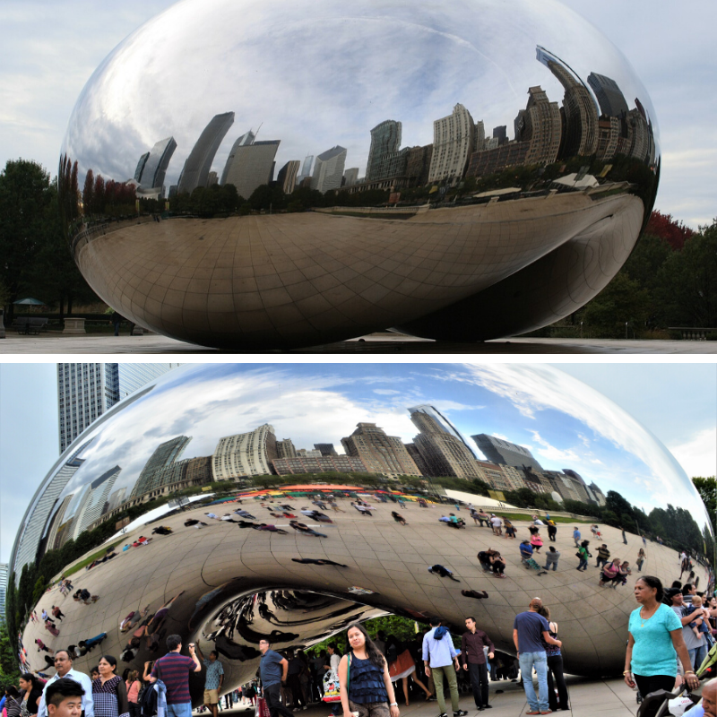 Tourists at the bean in millennium park