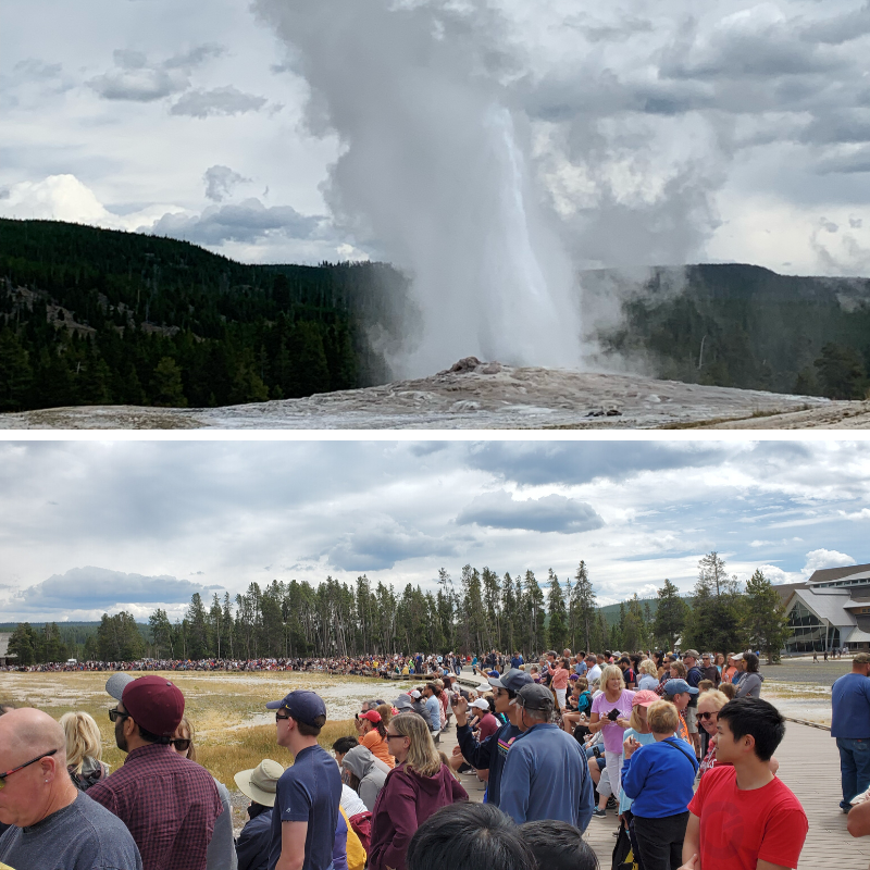 Tourists at Old faithful Yellowstone national park