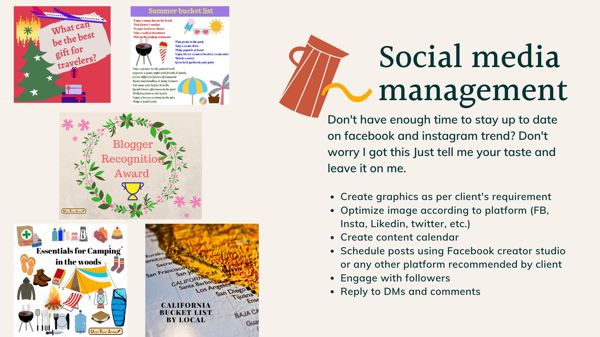 socila media management services including Instagram, Facebook and pinterest